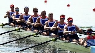 Great Britain's men's eight in action.
