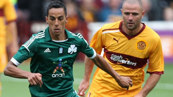 Motherwell's Michael Higdon and Panathinaikos's Zeca.