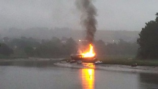 Boat fire in Barnstaple