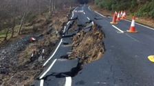 B6344 at Rothbury was closed after a major landslip on Boxing Day 2012.