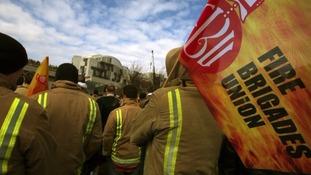 The Fire Brigades Union on strike.