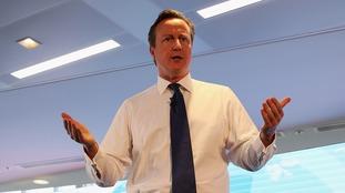 David Cameron speaking yesterday.
