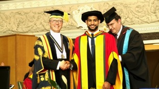 Amir Khan receiving his honorary degree from University of Bolton
