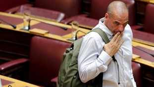 Yanis Varoufakis after speaking at today's debate.