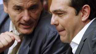 Greek Prime Minister Alexis Tsipras (R) and Finance Minister Euclid Tsakalotos.