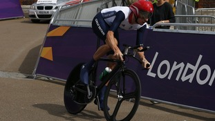 Bradley Wiggins competes in the men's cycling individual time trial
