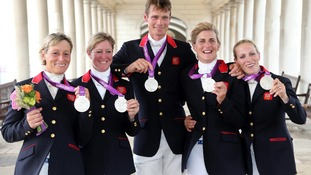 Mary King, Nicola Wilson, William Fox-Pitt, Tina Cook and Zara Phillips celebrate with their Silver