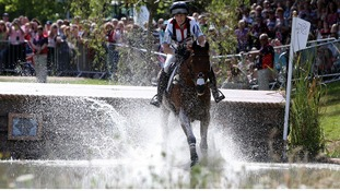 Zara Phillips riding High Kingdom on the cross country course