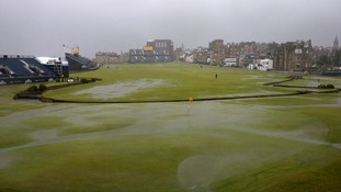 Heavy rain causes delay at Open Championship