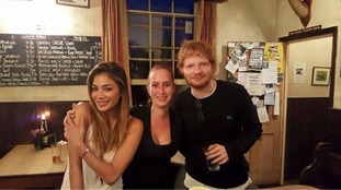Ed Sheeran and Nicola Scherzinger with Hannah Peck, Assistant Manager of The Station Hotel.