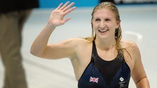 Rebecca Adlington celebrates Bronze in the 400m freestyle