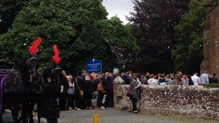 Mourners arrive at Jordan Watson's funeral