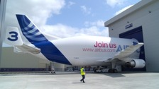The giant Airbus Beluga at Broughton today.