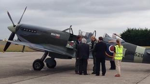 Jodie Kidd speaks to a pilot ahead of the Battle of Britain memorial flight