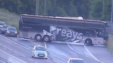The Reays coach performed a u-turn on the busy motorway.