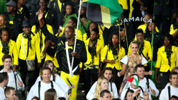 Jamaica athletes at Olympic ceremony