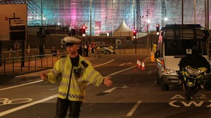 The scene near the Olympic Park in Stratford where a cyclist was killed in a road accident.