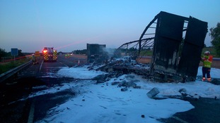 The aftermath of the lorry fire which closed the M6.