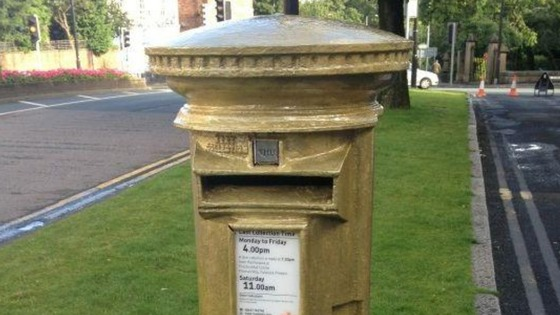 Chorley&#x27;s golden post box