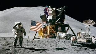 Landing on the moon.