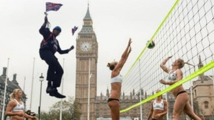 Dropping in on the Olympic volleyball.