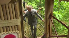 Prince Charles on rope bridge
