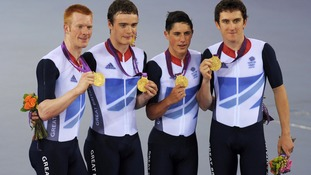Peter Kennaugh (third from left) celebrates Gold medal win with teammates