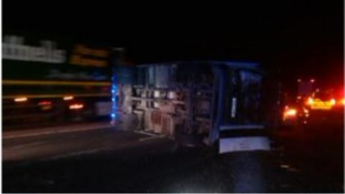 Overturned lorry on M5 Glos