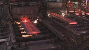 Steel being produced