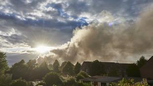 Arty shot of Glastonbury scrapyard fire