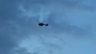 Police helicopter in the smoke