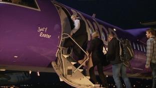 Passenger boarding Flybe's Spirit