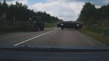Dash cam shows a car mid-air after crash