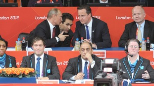 David Cameron and Vladimir Putin watch the Women's Judo semi-final