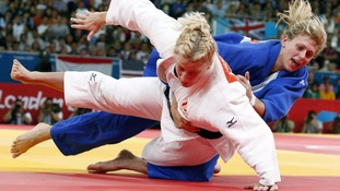 Gemma Gibbons fights Kayla Harrison during the women's 78kg final judo match