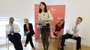 Liz Kendall (centre) and supporters