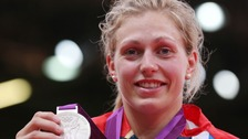 Great Britain's Gemma Gibbons celebrates beating Mongolia's Lkhamdegd Purevjargal