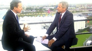 ITV News' Mark Austin interviews David Cameron at the Olympic Park