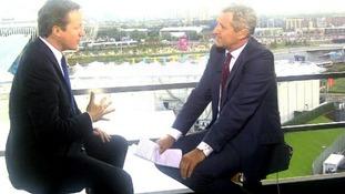 ITV News' Mark Austin interviews David Cameron at the Olympic Park
