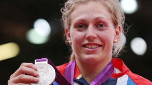 Team GB's Gemma Gibbons with her silver medal from the Women's 78kg Judo at the ExCel Arena, London.