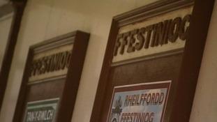plaques inside Ffestiniog station