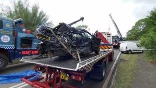 Two cars and a lorry were involved in the crash.