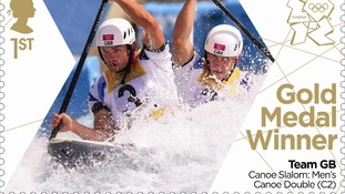 The stamp to commemorate Etienne Stott and Tim Baillie's gold medal win in the men's canoe double.