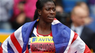 Christine Ohuruogu after winning her women's 400m final during the Aviva Trails and Championships.