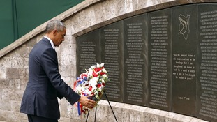President Obama lays a wreath at Memorial Park in Nairobi