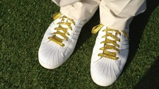 Sir Steve Redgrave's golden shoes