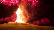 Wickerman statue burning