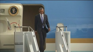 President Obama arrives in Ethiopia aboard Air Force One