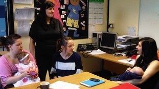 Young mums at a training centre in Hartlepool.