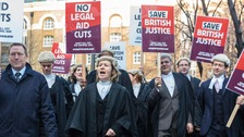Barristers are joining solicitors in protesting at legal aid cuts.